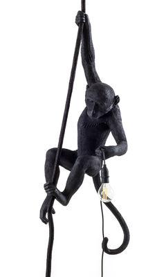 Leuchten - Pendelleuchten - Monkey Hanging Pendelleuchte / outdoorgeeignet - H 80 cm - Seletti - Schwarz - Harz