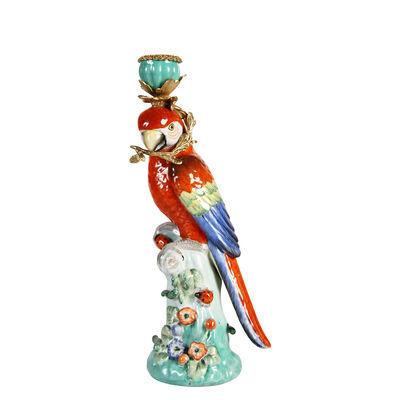 Interni - Candele, Portacandele, Lampade - Portacandela Parrot - / H 33 cm - Porcellana di & klevering - Pappagallo - Ottone, Porcellana