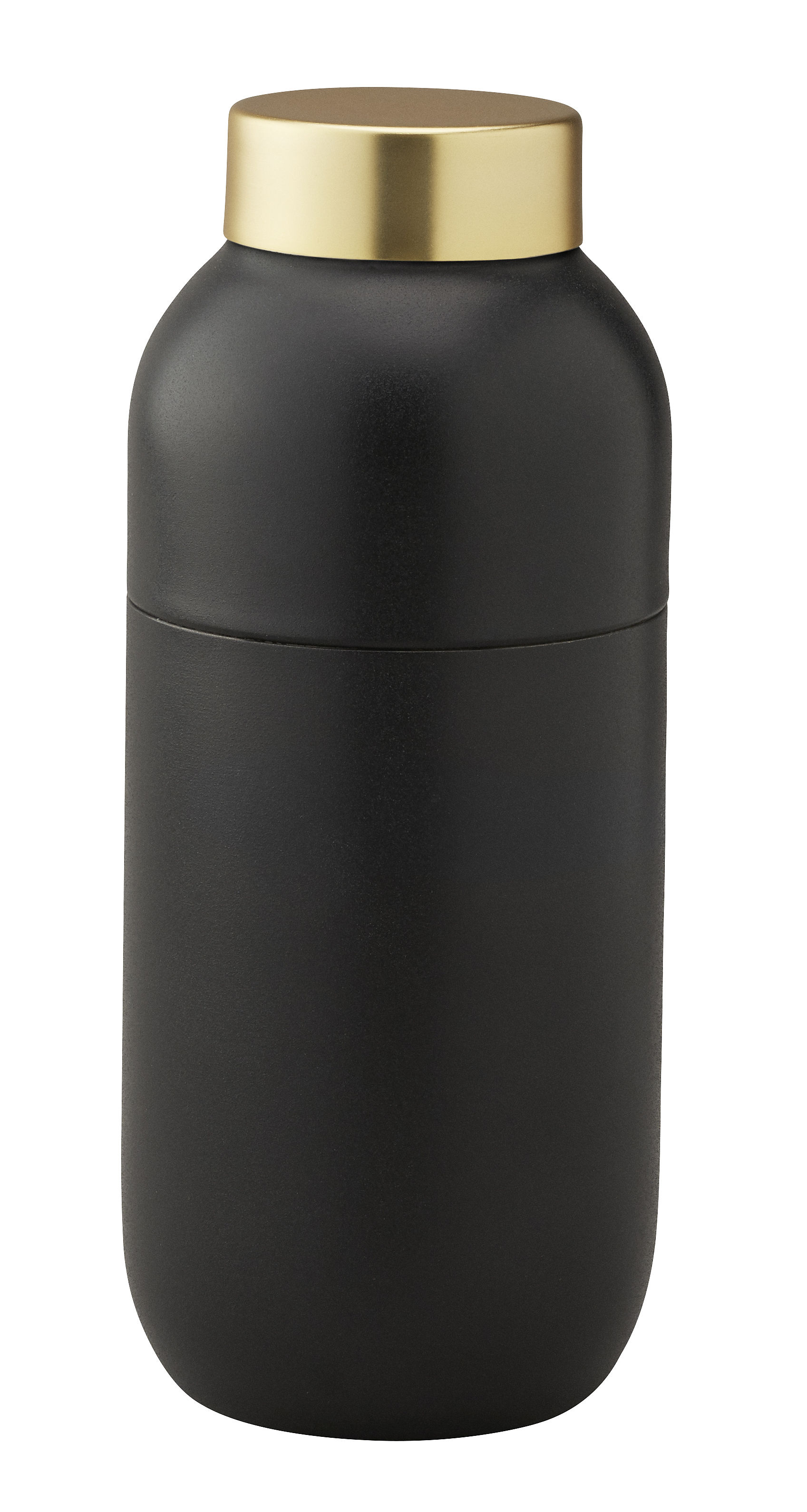 Tischkultur - Tee und Kaffee - Collar Shaker / 500 ml - mit Messbecher 2 & 4 cl - Stelton - Schwarzmatt & messingfarben - Gebürsteter messingbesch. Edelstahl