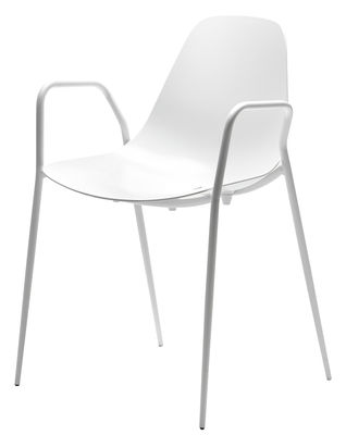 Furniture - Chairs - Mammamia Stackable armchair - Metal shell & legs by Opinion Ciatti - White - Aluminium, Metal