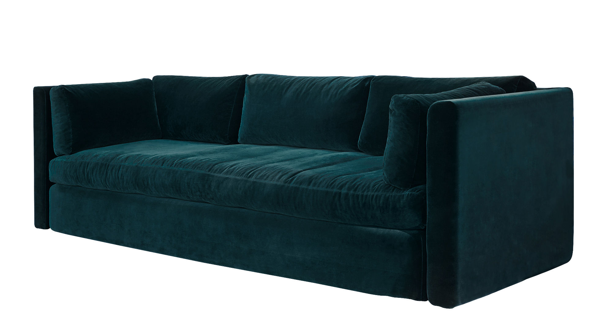 Furniture - Sofas - Hackney Straight sofa - / 3 seats - L 254 cm by Hay - Emerald green - Down, Polyurethane foam, Tissu Harald, Wood