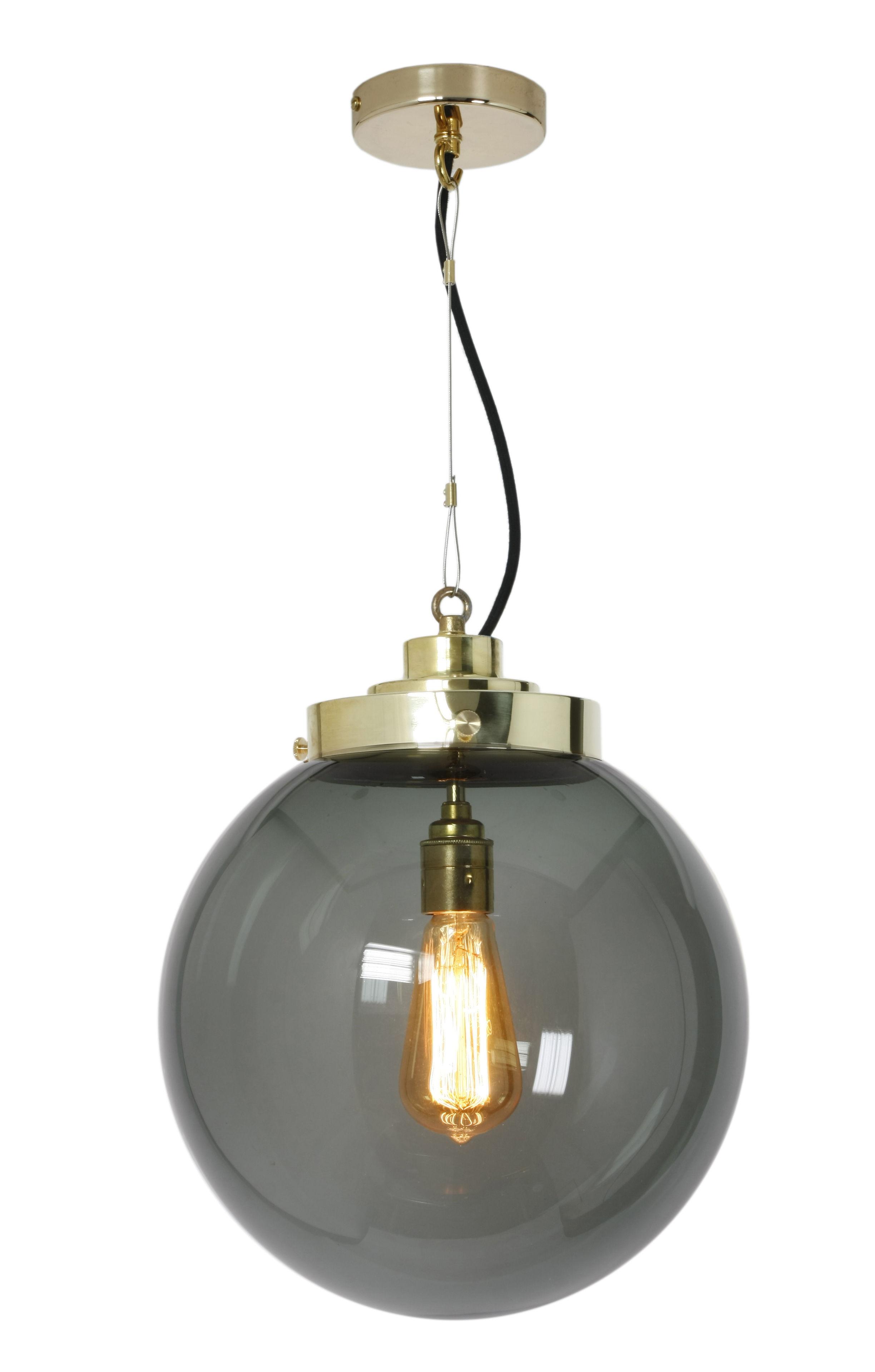 Luminaire - Suspensions - Suspension Globe Medium / Ø 30 cm - Verre soufflé - Original BTC - Verre anthracite / Laiton - Laiton poli, Verre soufflé