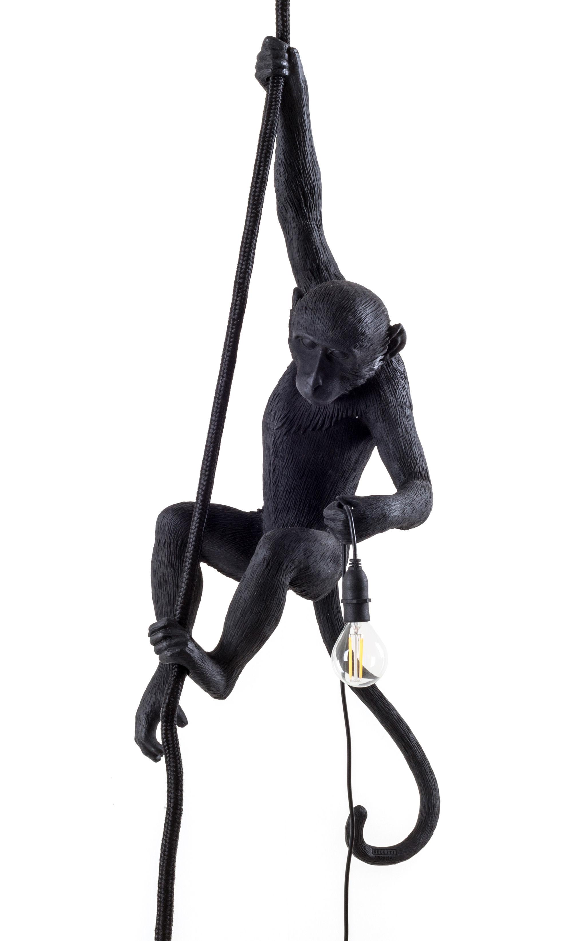 Luminaire - Suspensions - Suspension Monkey Hanging / Outdoor - H 80 cm - Seletti - Noir - Résine