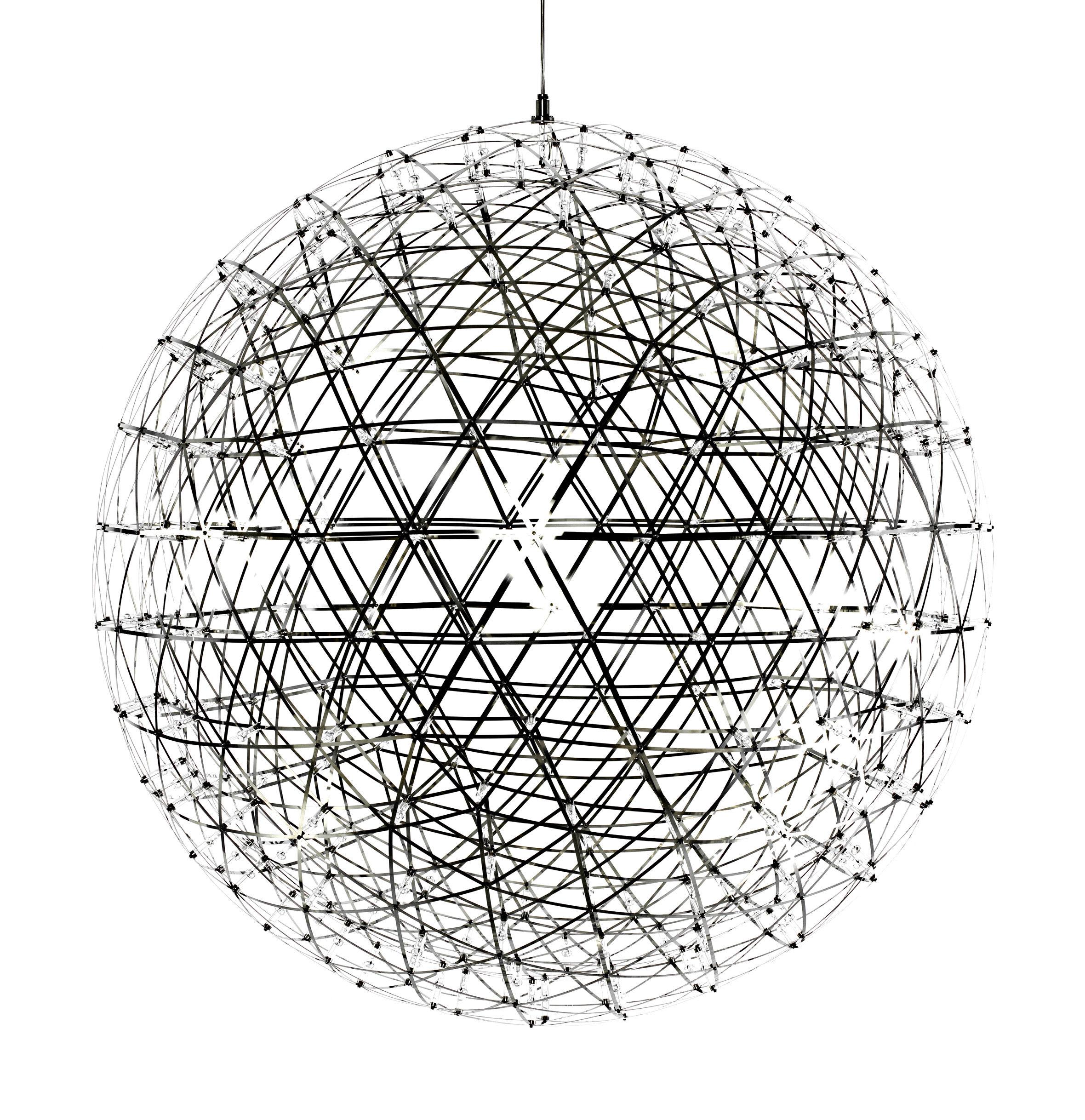 Luminaire - Suspensions - Suspension Raimond LED / Ø 127 cm - Moooi - Ø 127 cm - Acier poli - Acier inoxydable, Aluminium, PMMA