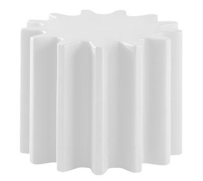Table basse Gear / Pouf - Ø 55 x H 43 cm - Slide blanc en matière plastique