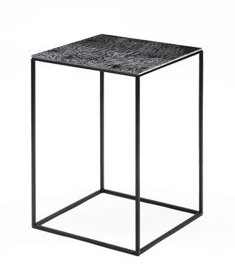 Table basse Slim Irony Art / 31 x 31 x H 46 cm - Plateau verre effet métal fondu - Zeus noir/métal en métal/verre