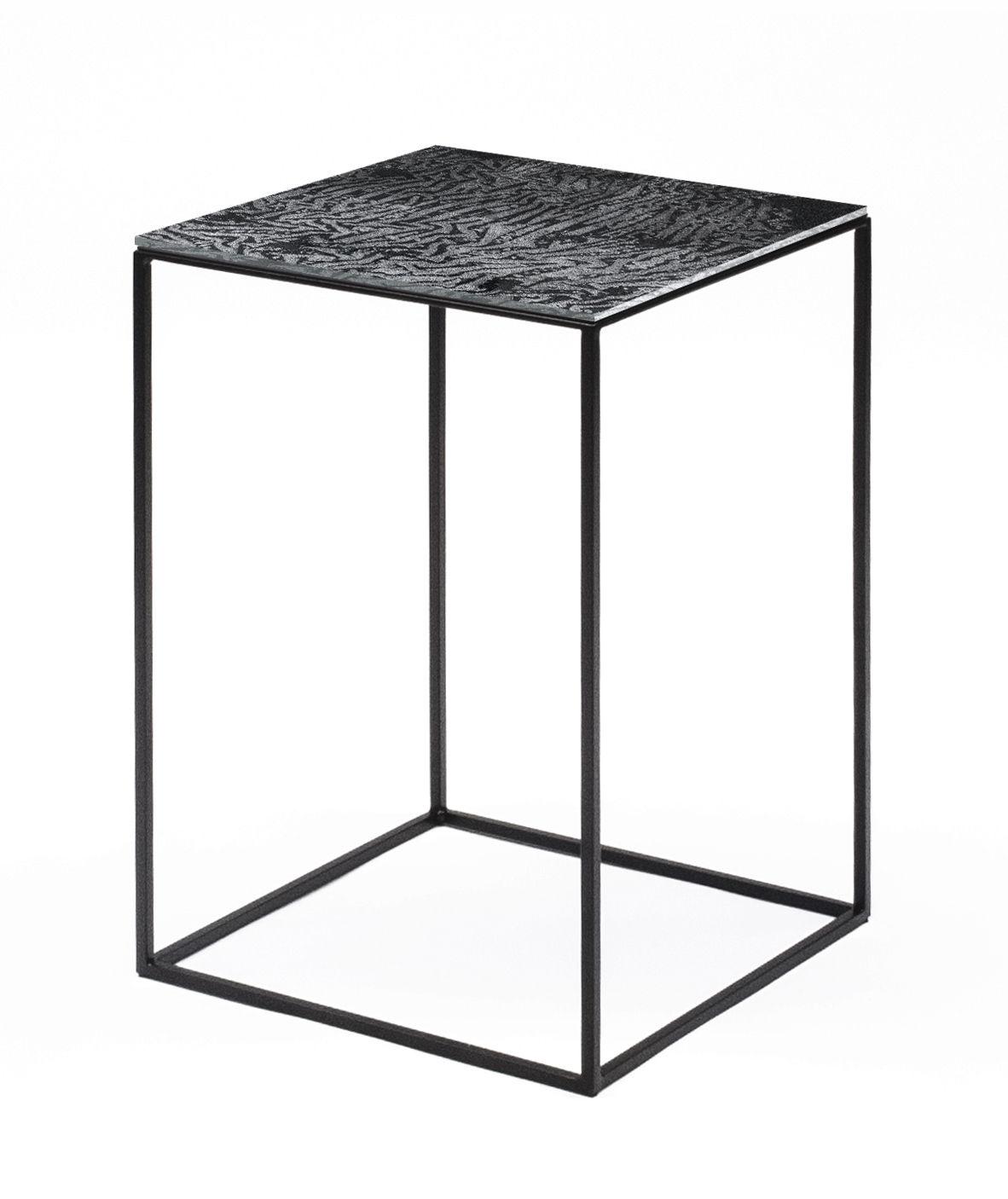 Mobilier - Tables basses - Table basse Slim Irony Art / 31 x 31 x H 46 cm -  Plateau verre effet métal fondu  - Zeus -  Métal fondu / Pied noir cuivré - Acier, Verre avec pellicule d'aluminium