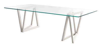 Table QuaDror02 / 280 x 120 cm - Plateau verre rectangulaire - Horm transparent,frêne blanchi en verre