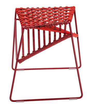 Mobilier - Tabourets bas - Tabouret Twist / H 47 cm - Tissu tressé - Zanotta - Rouge / bordeau - Acier verni, Polyester