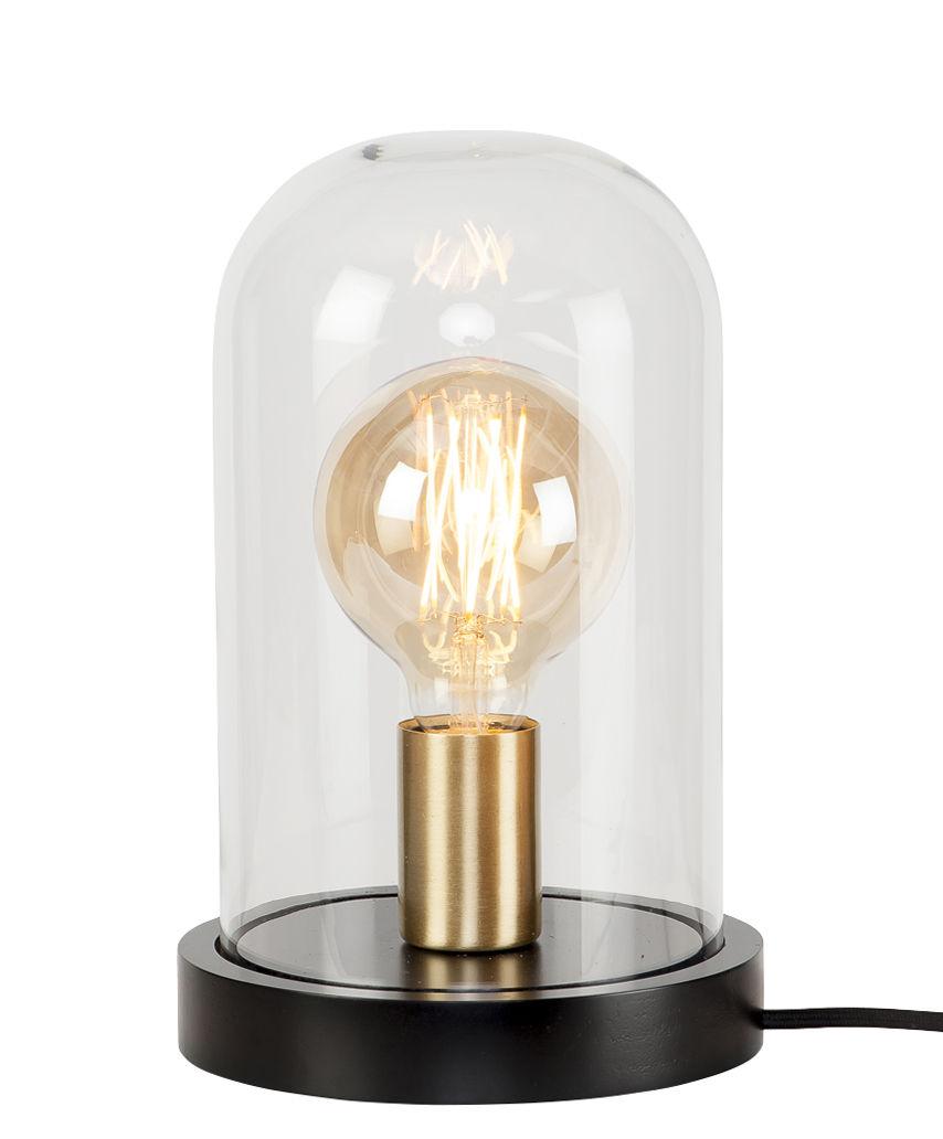 Leuchten - Tischleuchten - Seattle Tischleuchte / Glas und Holz - Ø 18 cm x H 29,5 cm - It's about Romi - Schwarz & Messing / transparent - bemaltes Holz, Glas, Messing