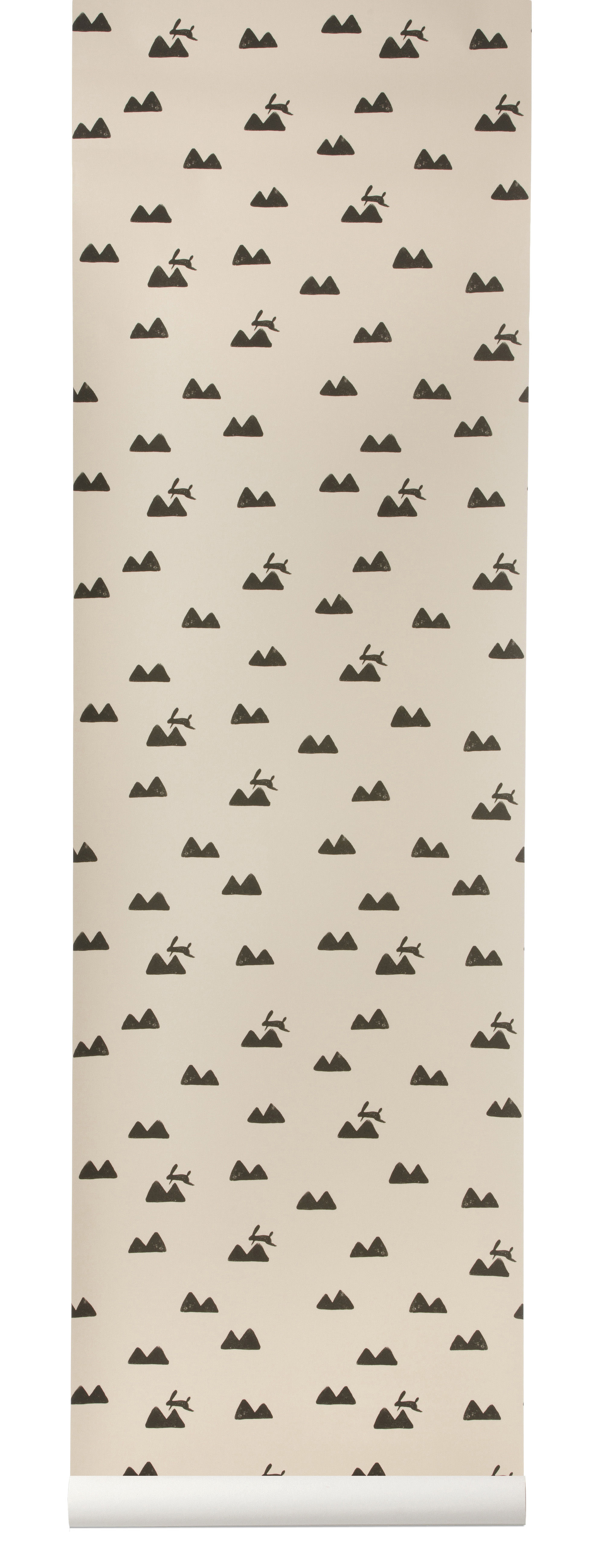 Decoration - Children's Home Accessories - Rabbit Wallpaper - 1 panel - W 53 cm by Ferm Living - Pink / Black - Non-woven fabric