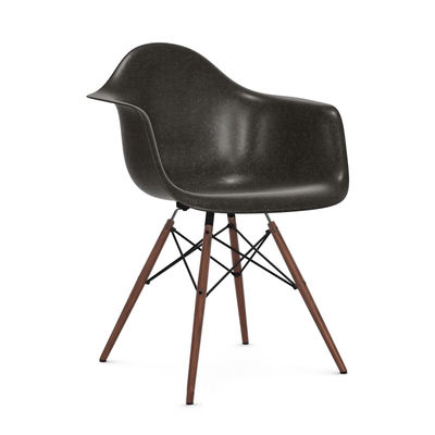 Furniture - Chairs - DAW - Eames Fiberglass Armchair Armchair - / (1950) - Dark wood legs by Vitra - Elephant grey / Dark wood - Polyester reinforced with fibreglass , Solid maple