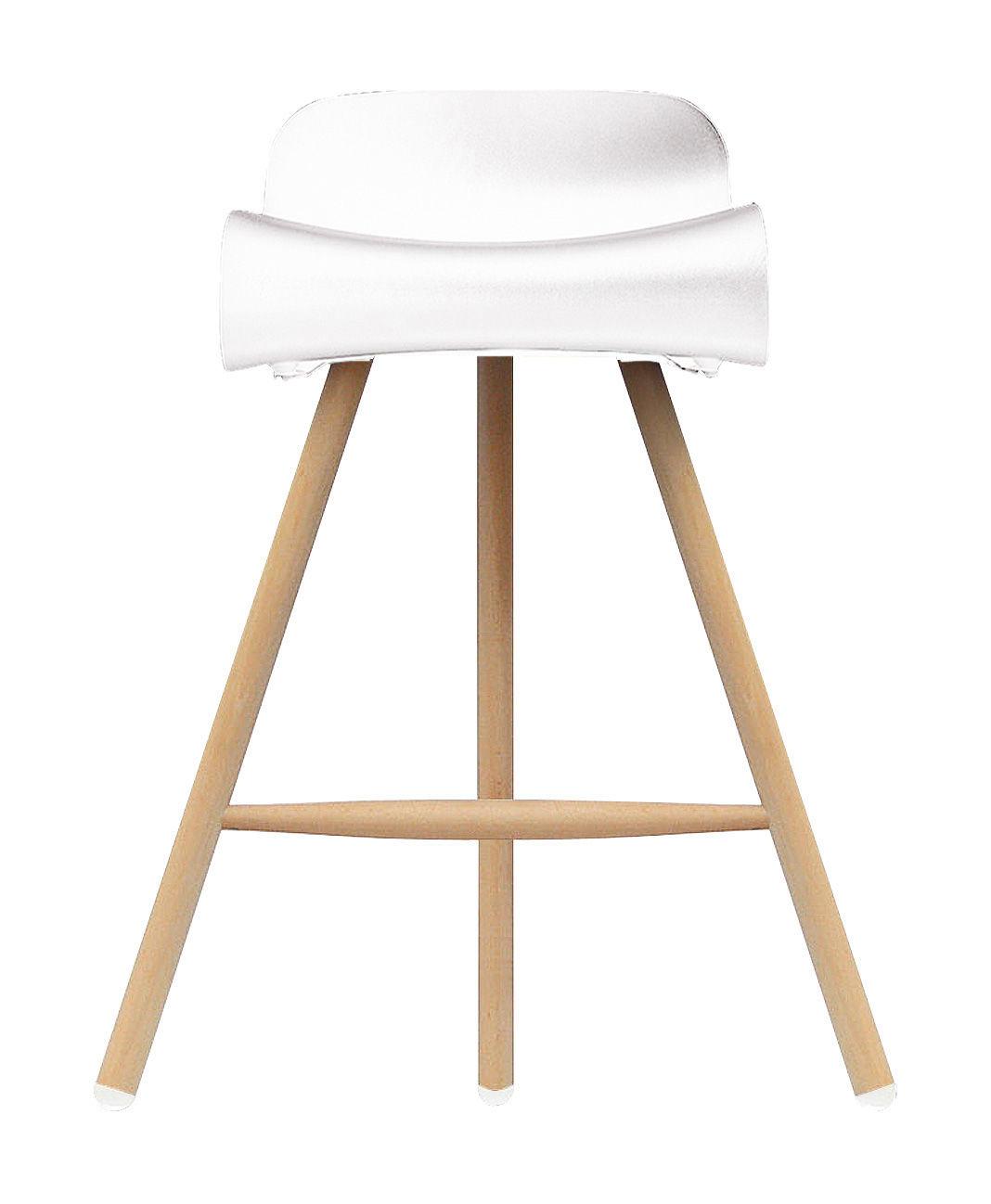 Furniture - Bar Stools - BCN Wood Bar stool - H 66 cm - Plastic & wood legs by Kristalia - Natural wood / White - Beechwood, Plastic material