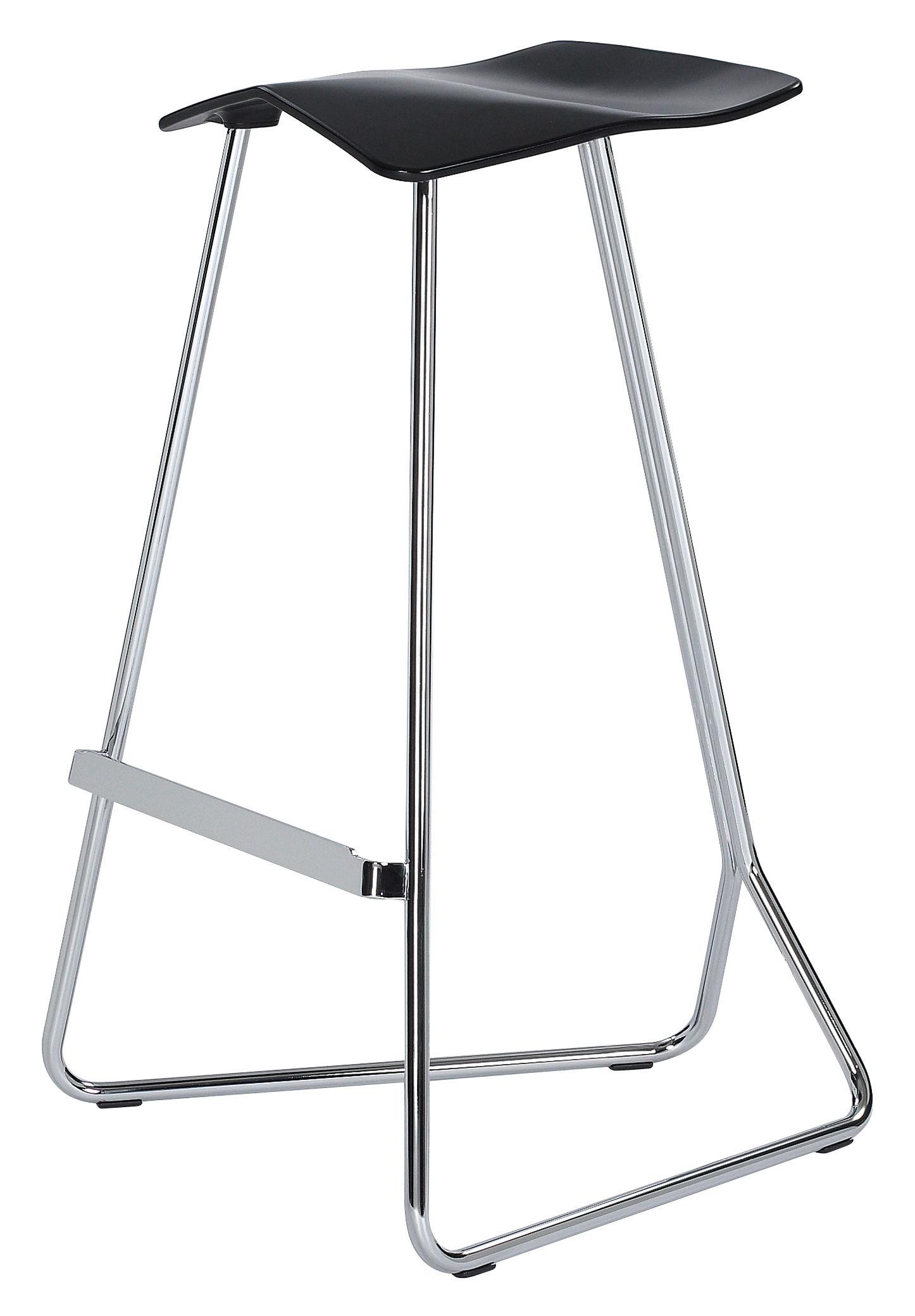Möbel - Barhocker - Triton Barhocker - ClassiCon - Schwarz - Gestell verchromt - Polyurhethan, verchromter Stahl