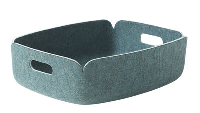 Decoration - Boxes & Baskets - Restore Basket - Felt - 31 x 40 cm by Muuto - Aqua blue-green - Recycled felt
