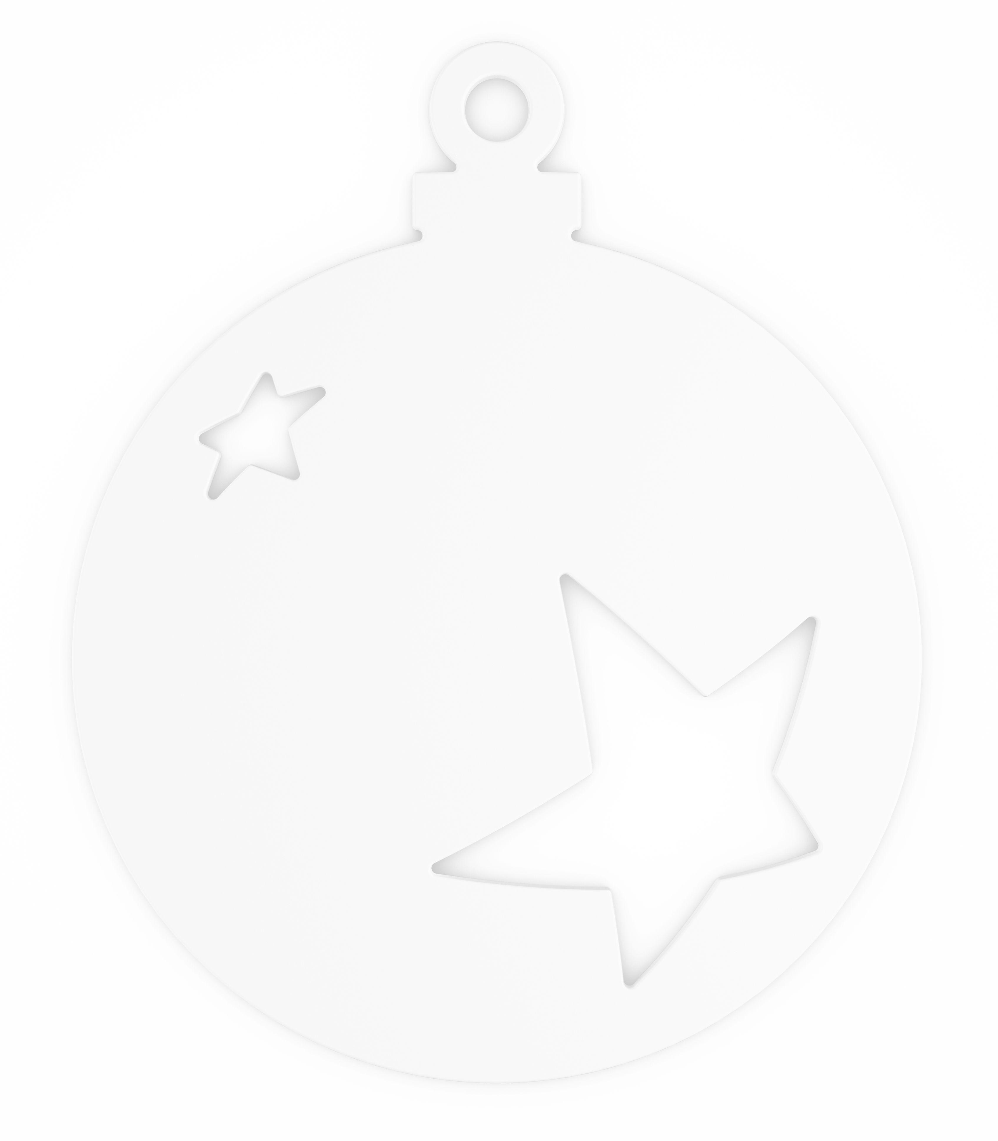 Déco - Objets déco et cadres-photos - Boule de Noël Stars / Lot de 2 - Koziol - Blanc opaque - Plastique