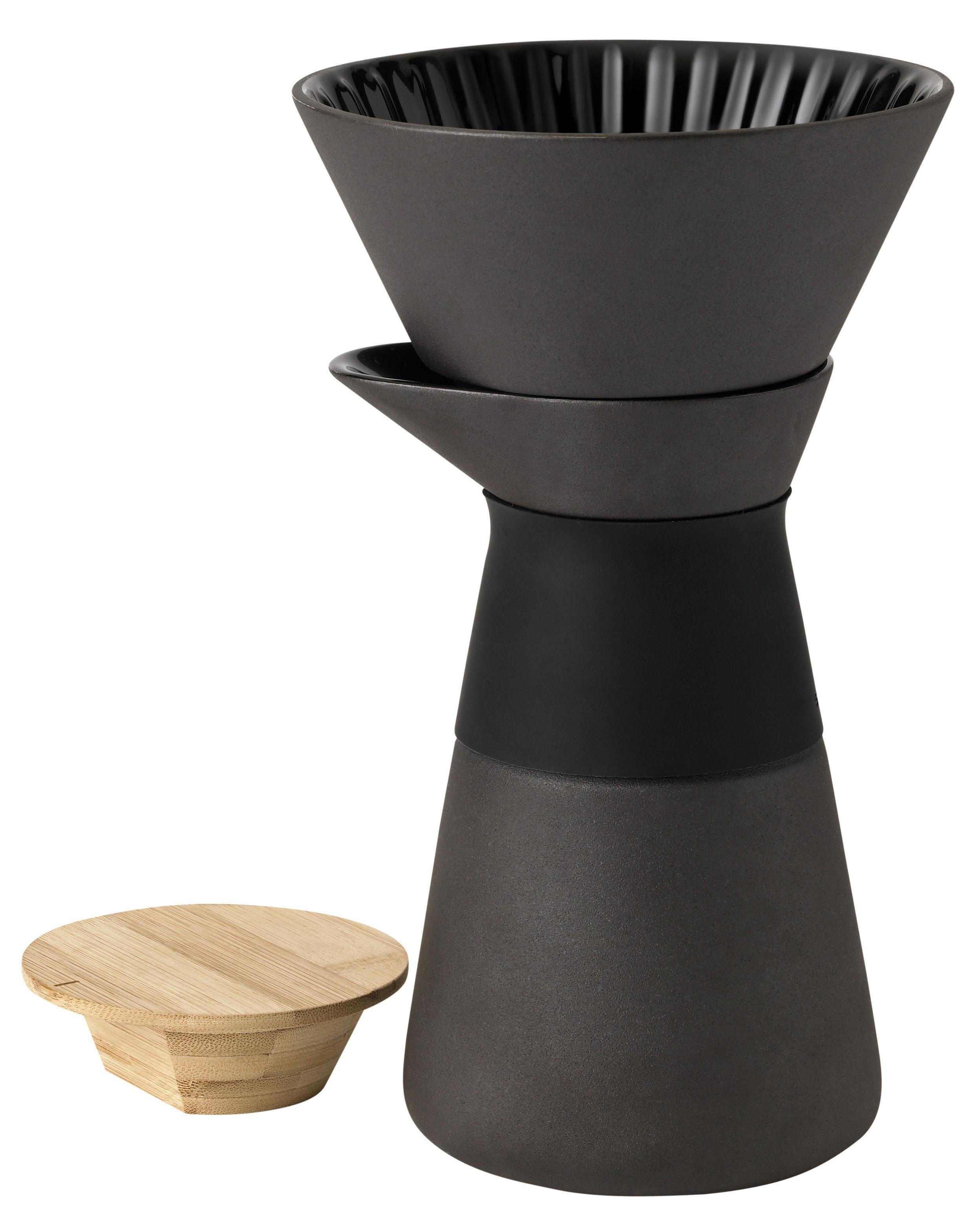 Arts de la table - Thé et café - Cafetière filtre Théo / 60 cl - Stelton - Noir / Bois naturel - Bambou, Grès, Silicone