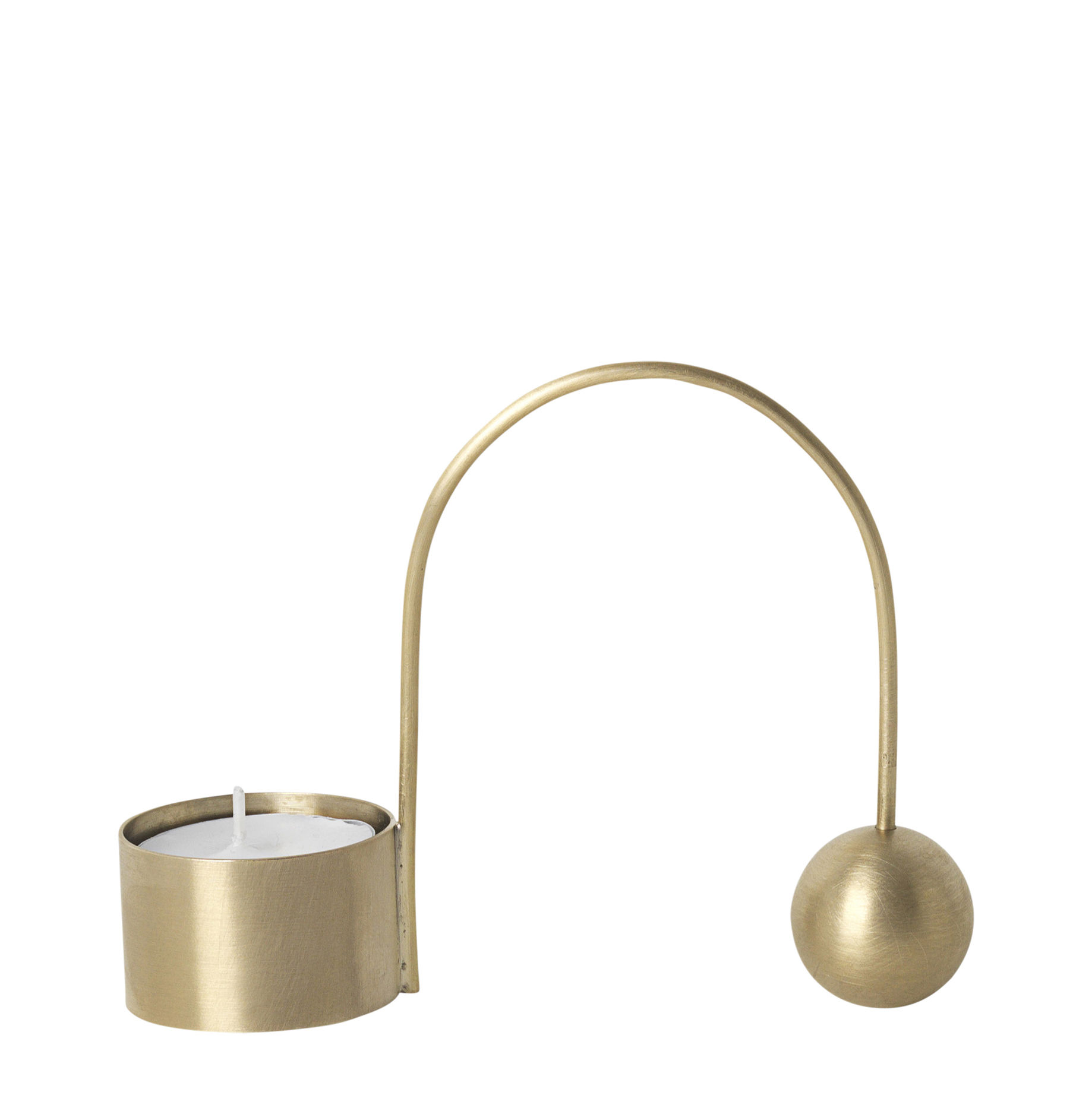 Decoration - Candles & Candle Holders - Balance Candle stick - / Tealight candle by Ferm Living - Tealight candle / Brass - Solid brass