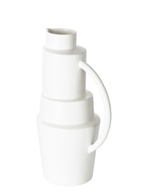 Tableware - Water Carafes & Wine Decanters - Block Carafe - / Ø 18 x H 35 cm by Tom Dixon - White - Enamelled earthenware