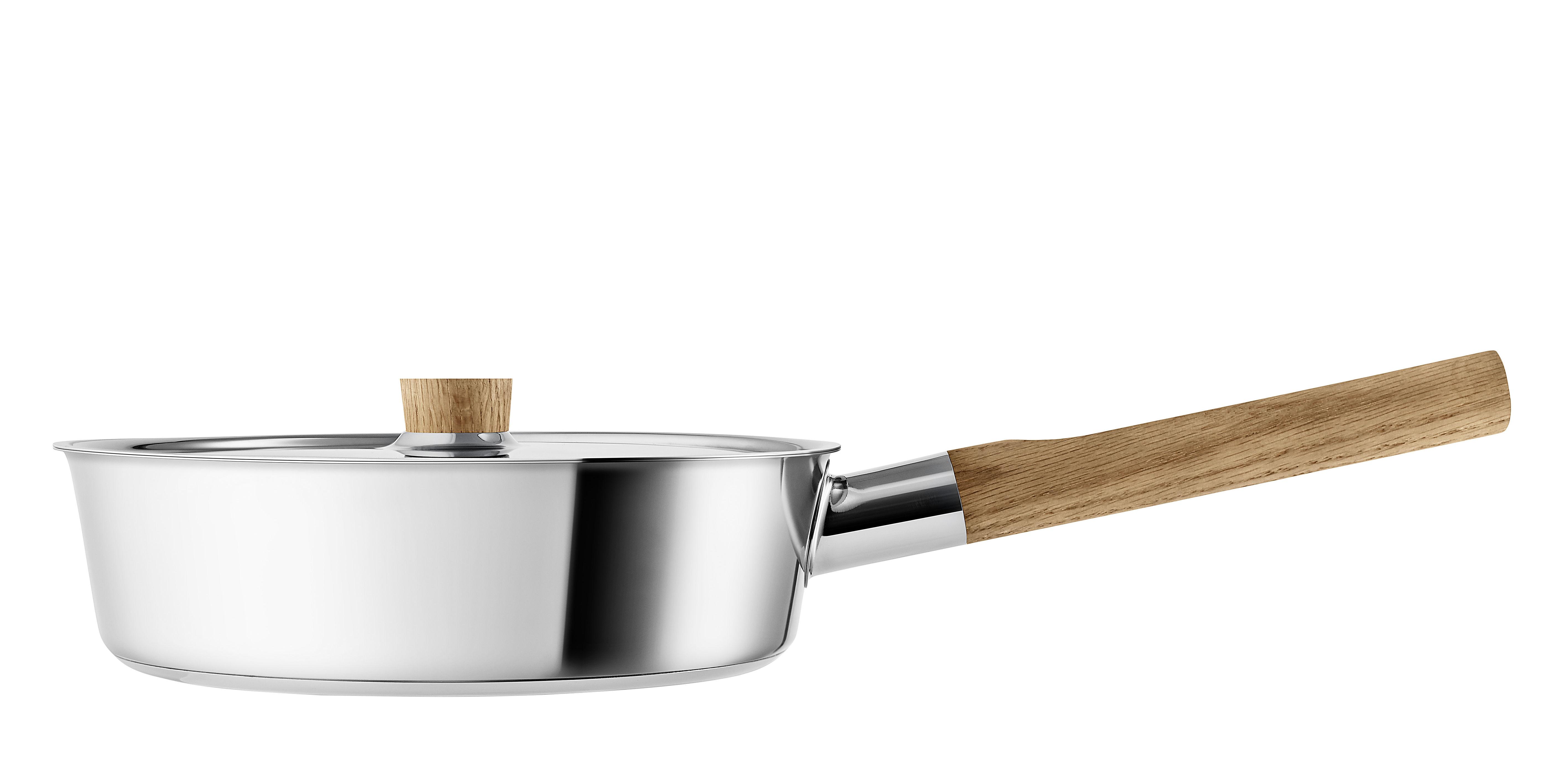 Kitchenware - Pots & Pans - Nordic Kitchen Casserole - / Ø 24 cm - With lid by Eva Solo - Stainless steel / Oak - Oak, Stainless steel