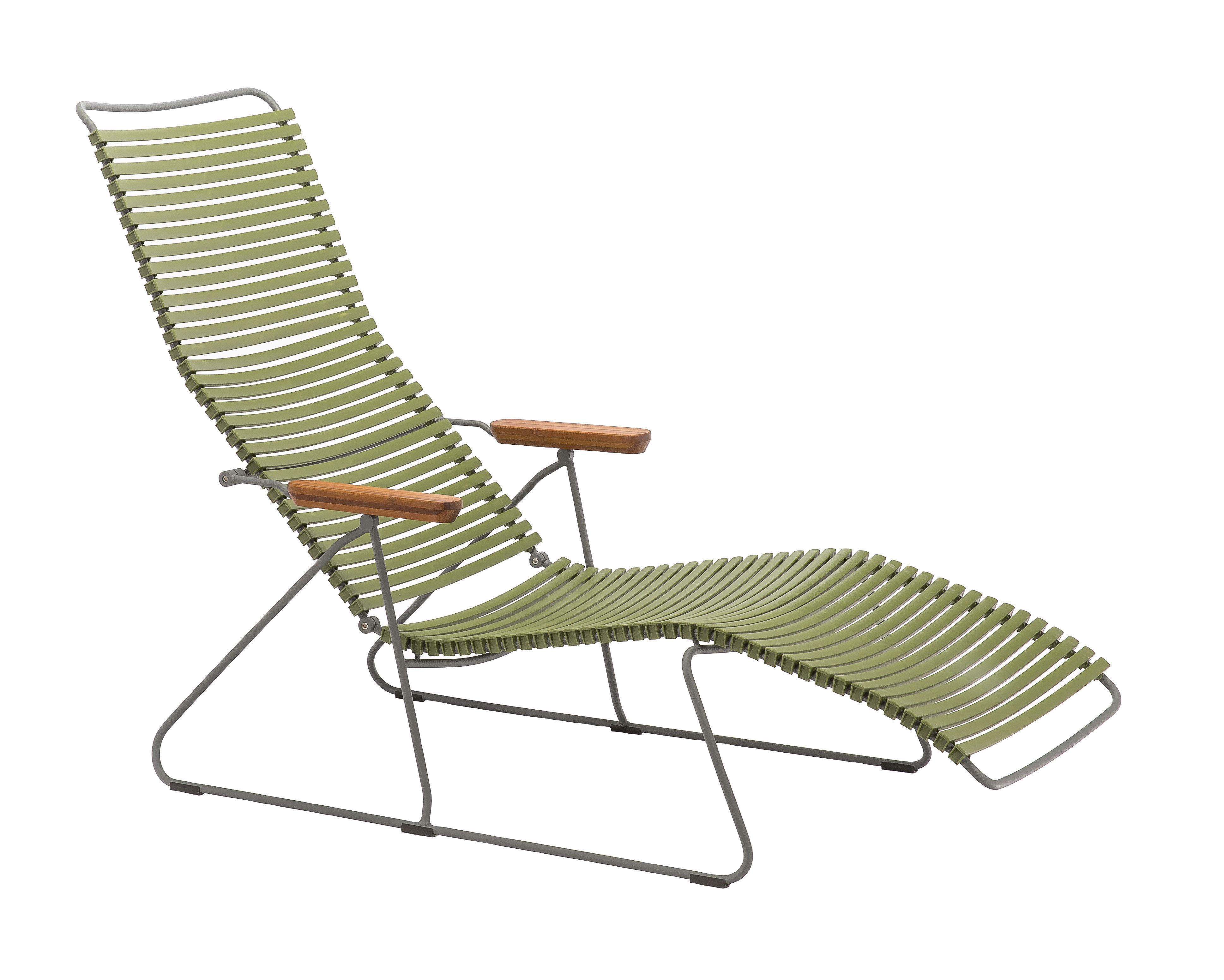 Outdoor - Sedie e Amache - Sedia a sdraio Click / Schienale multiposizioni - Houe - Verde oliva - Bambù, Metallo, Plastica