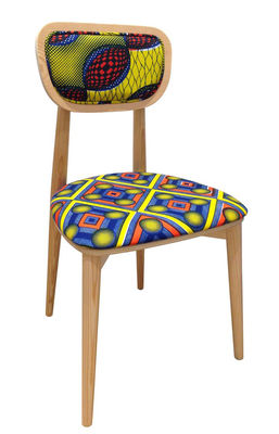 Mobilier - Chaises, fauteuils de salle à manger - Chaise rembourrée Wax going on / n°3 - Kimia - Sandrine Alouf Atmospheriste - Kimia - Mousse, Pin multiplis, Tissu