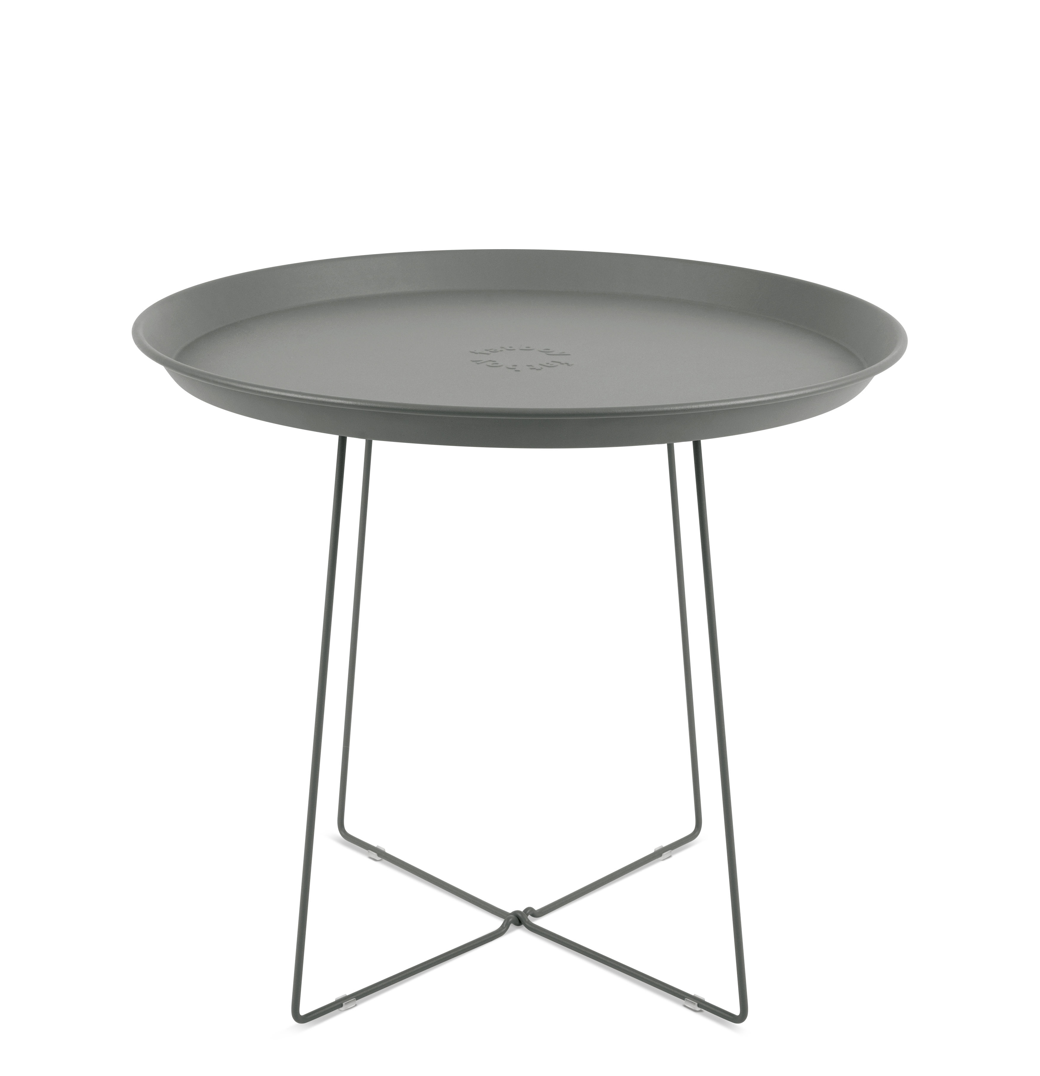 Furniture - Coffee Tables - Plat-o Coffee table - / Detachable top - Ø 56 x H 46 cm by Fatboy - Grey - Painted steel