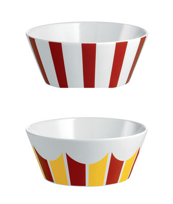 Coupelle Circus / Set de 2 - Ø 11 x H 4,5 cm - Porcelaine anglaise - Alessi blanc,jaune,rouge en céramique