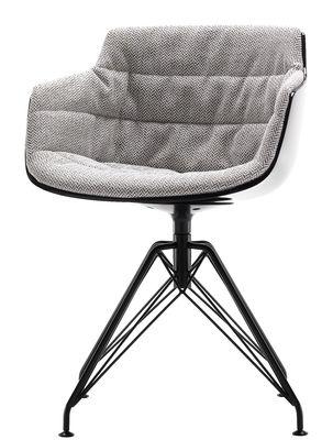 Möbel - Stühle  - Flow Slim Drehsessel / gepolstert - 4 Stuhlbeine aus Stahldraht - MDF Italia - Bezug beige-meliert / Sitzschale schwarz / Fußgestell graphitgrau - bemalter Stahl, Gewebe, Polykarbonat