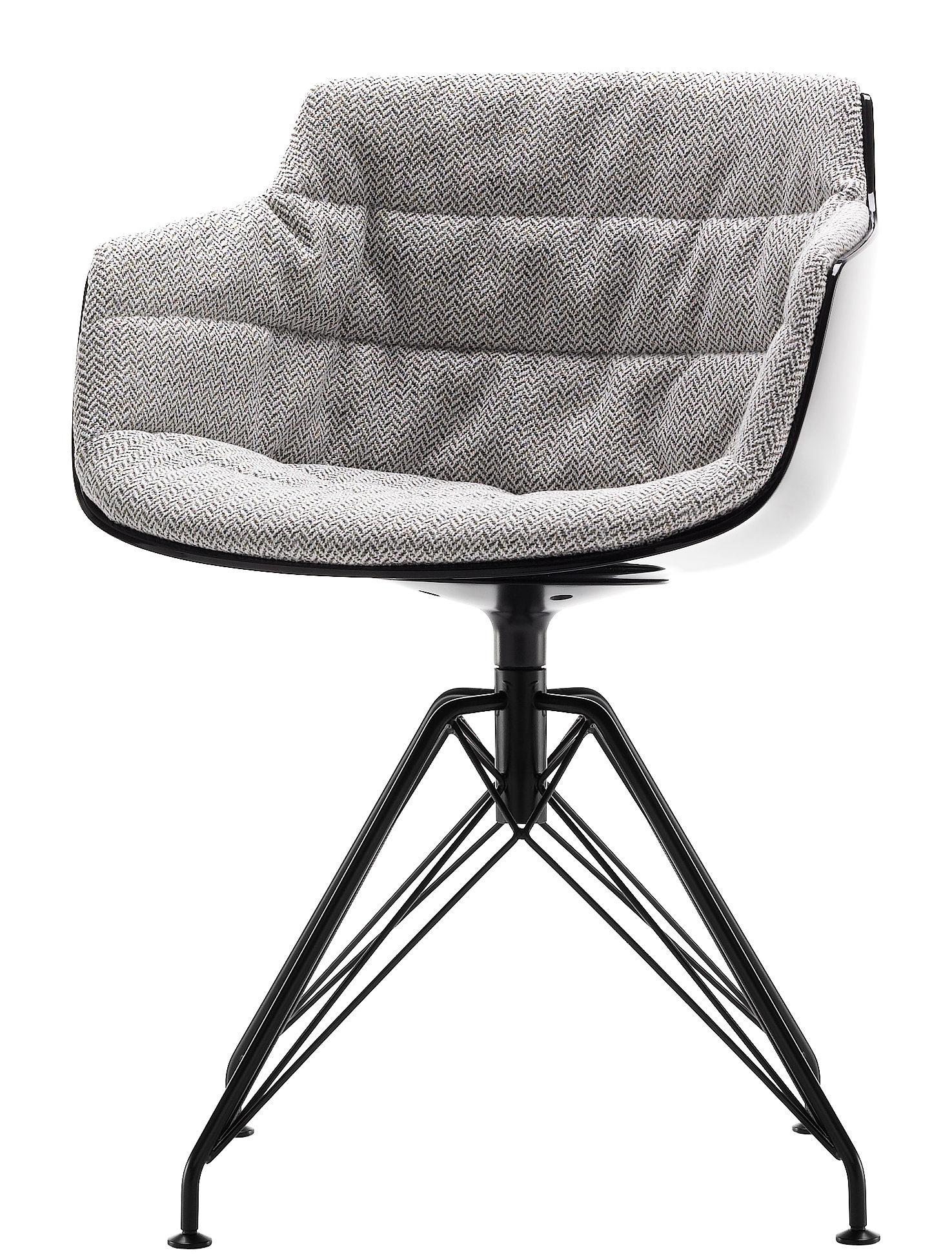 Mobilier - Chaises, fauteuils de salle à manger - Fauteuil pivotant Flow Slim / Rembourré - 4 pieds LEM - MDF Italia - Tissu beige moucheté / Coque noire / Pieds graphite - Acier peint, Polycarbonate, Tissu