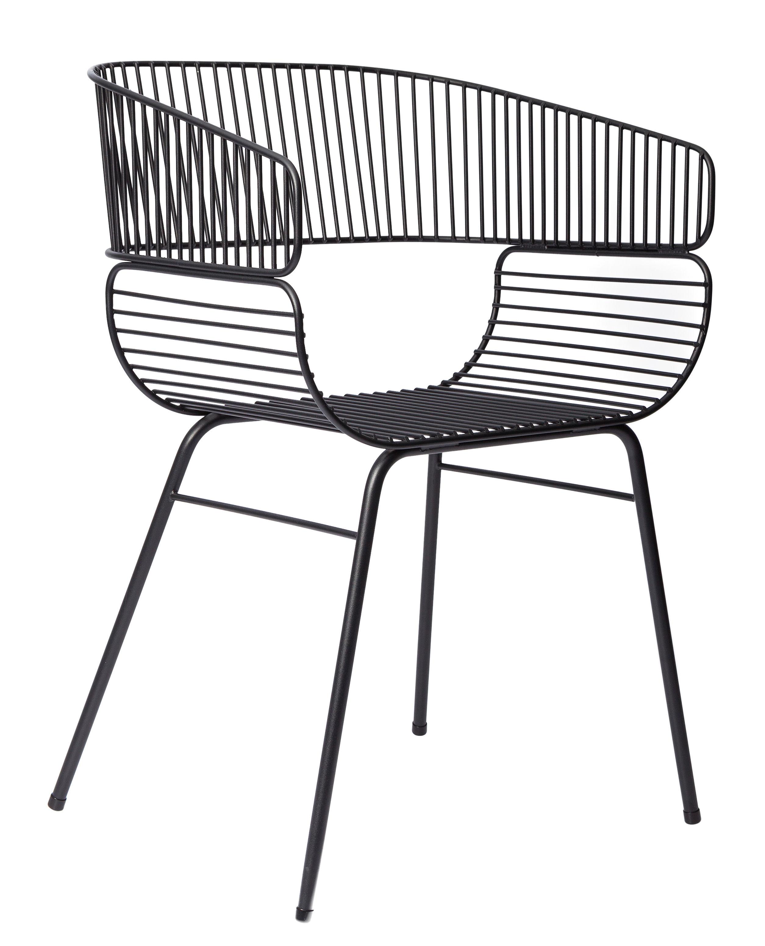 Mobilier - Chaises, fauteuils de salle à manger - Fauteuil Trame / Métal - Petite Friture - Noir - Acier thermolaqué