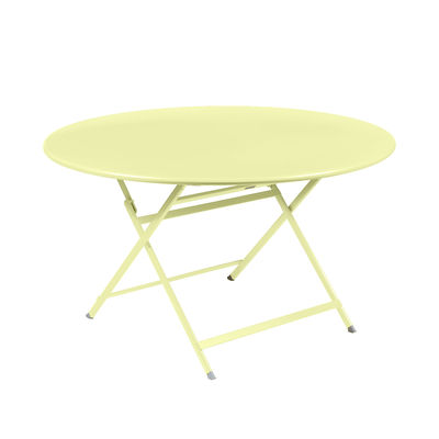Outdoor - Garden Tables - Caractère Foldable table - / Ø 128 cm / 7 people by Fermob - Frosted lemon - Painted steel