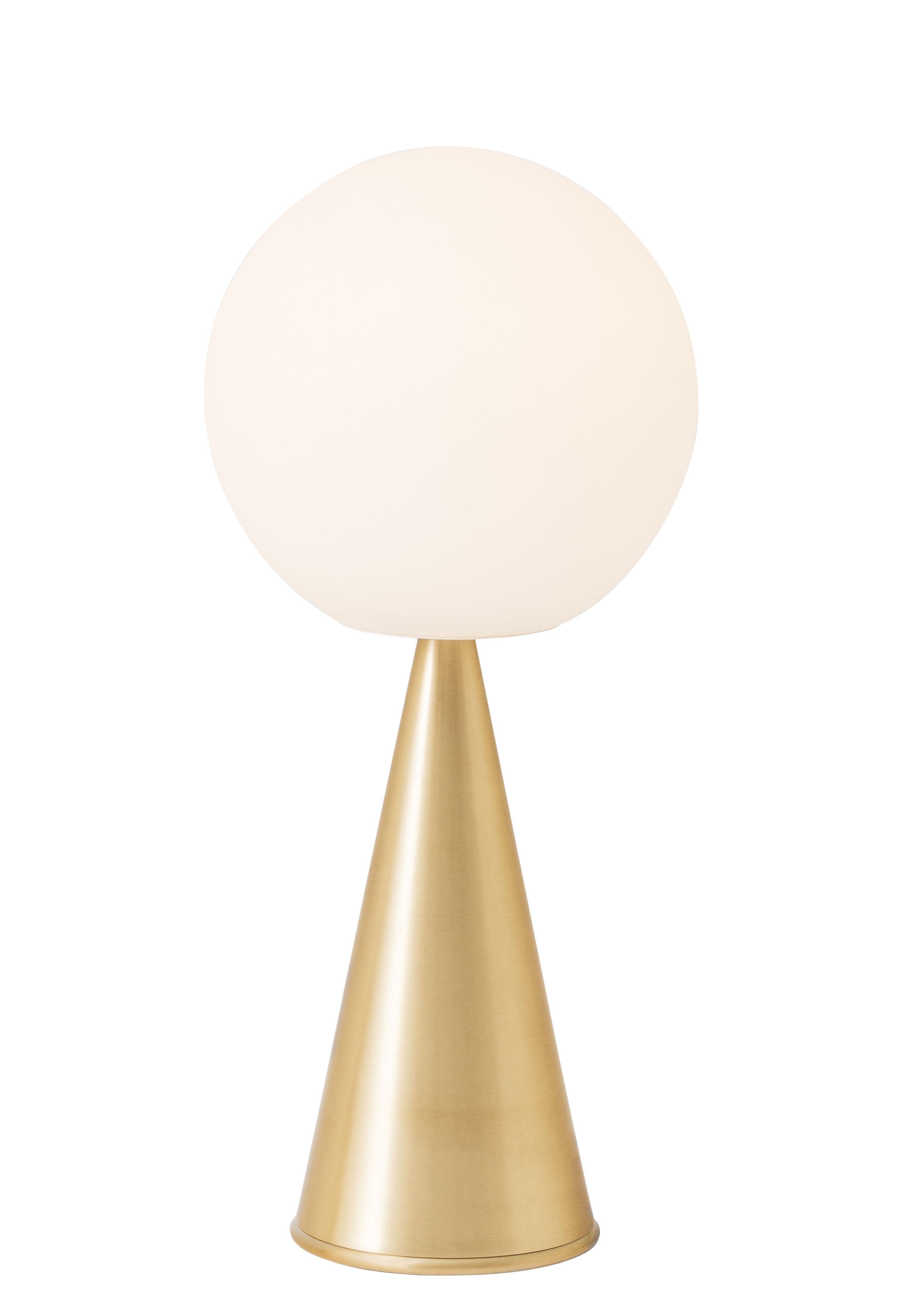 Luminaire - Lampes de table - Lampe à poser Bilia LED / H 43 cm - By Gio Ponti (1932) - Fontana Arte - Laiton - Métal, Verre soufflé satiné
