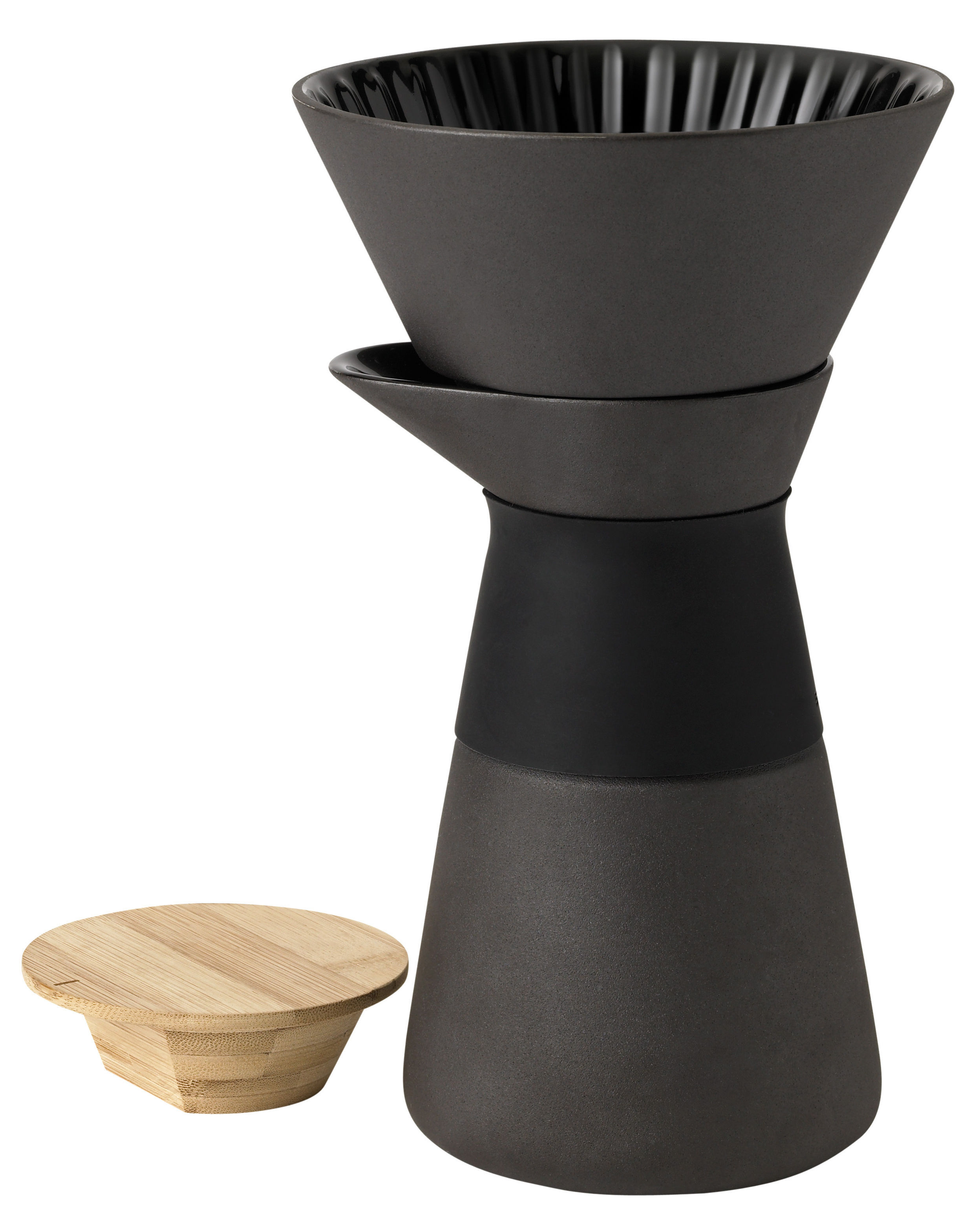 Tavola - Caffè - Caffettiera filtro Théo / 60 cl - Stelton - Nero / Legno naturale - Bambù, Gres, Silicone