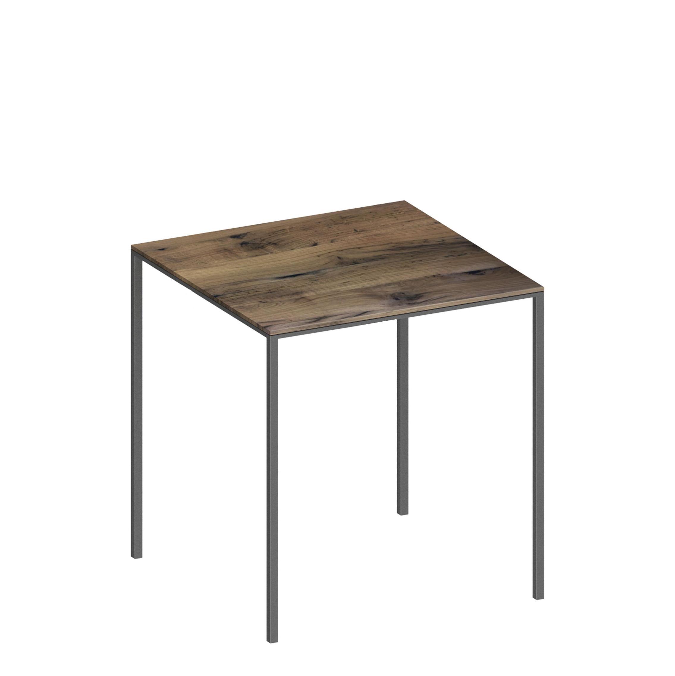 Mobilier - Tables - Table carrée Mini Tavolo / Bois - 99 x 99 cm - Zeus - Gris / Rouvre massif - Acier peint époxy, Bois de rouvre massif