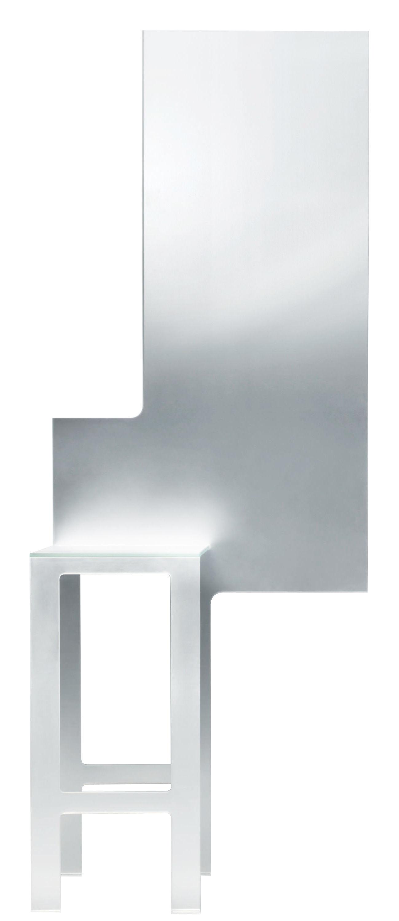 Mobilier - Miroirs - Miroir mural Mirror Stool / Assise intégrée H 75 cm - Glas Italia - Miroir / Métallisé - Cristal