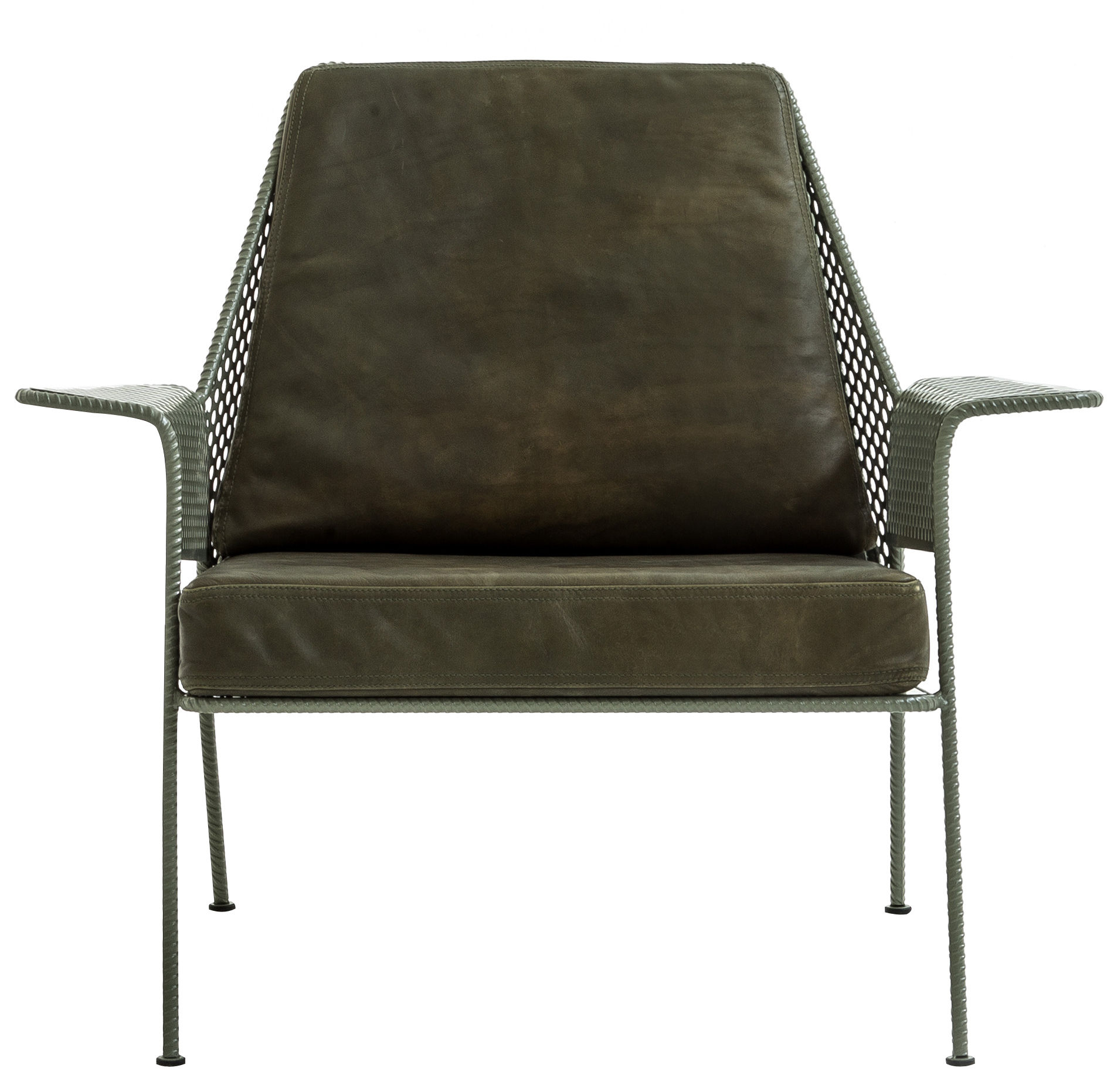 Furniture - Armchairs - Work is over Padded armchair by Diesel with Moroso - Khaki - Leather, Polyester fiber, Polyurethane foam, Varnished steel