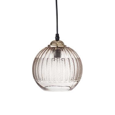 Furniture - Pendant - / Glass - Ø 17 cm by Bloomingville - Transparent brown - Metal, Verre texturé