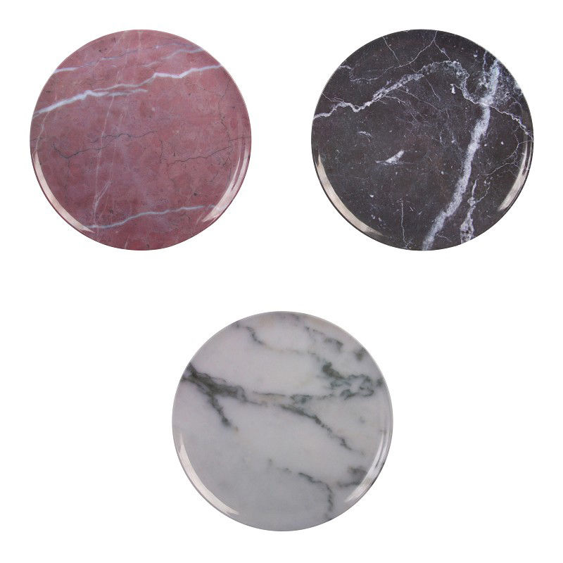 Tableware - Plates - Marble Plate - Set of 3 / Melamine by & klevering - White,Black,Pink - Melamine