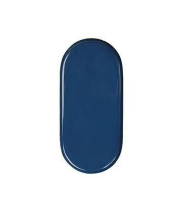 Plateau Metal Oval / 24 x 11 cm - & klevering bleu en métal