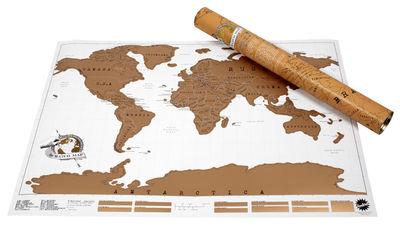 Déco - Pour les enfants - Poster Scratch Map / Carte du monde  à gratter - 82 x 58 cm - Luckies - Or & blanc - Papier