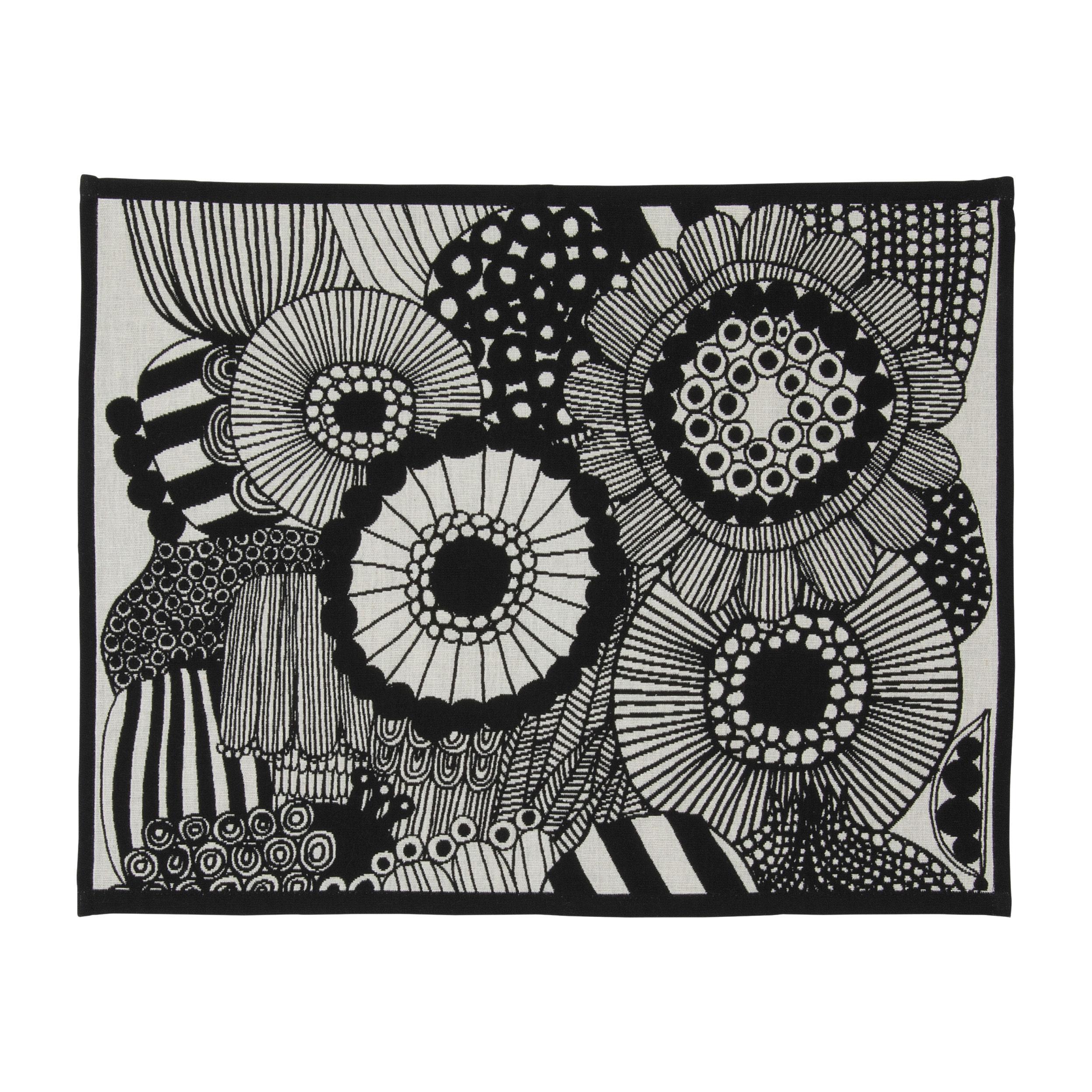 Arts de la table - Nappes, serviettes et sets - Set de table Pieni Siirtolapuutarha / Coton - 47 x 36 cm - Marimekko - Siirtolapuutarha / Noir - Coton