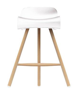 Arredamento - Sgabelli da bar  - Sgabello bar BCN Wood - H 66 cm -Piedi in legno di Kristalia - Legno naturale /Bianco - Faggio, Materiale plastico