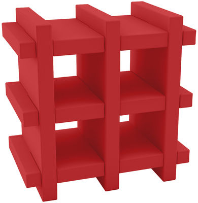 Furniture - Bookcases & Bookshelves - Booky mini Shelf - H 70 cm - W 70 cm by Slide - Red - recyclable polyethylene