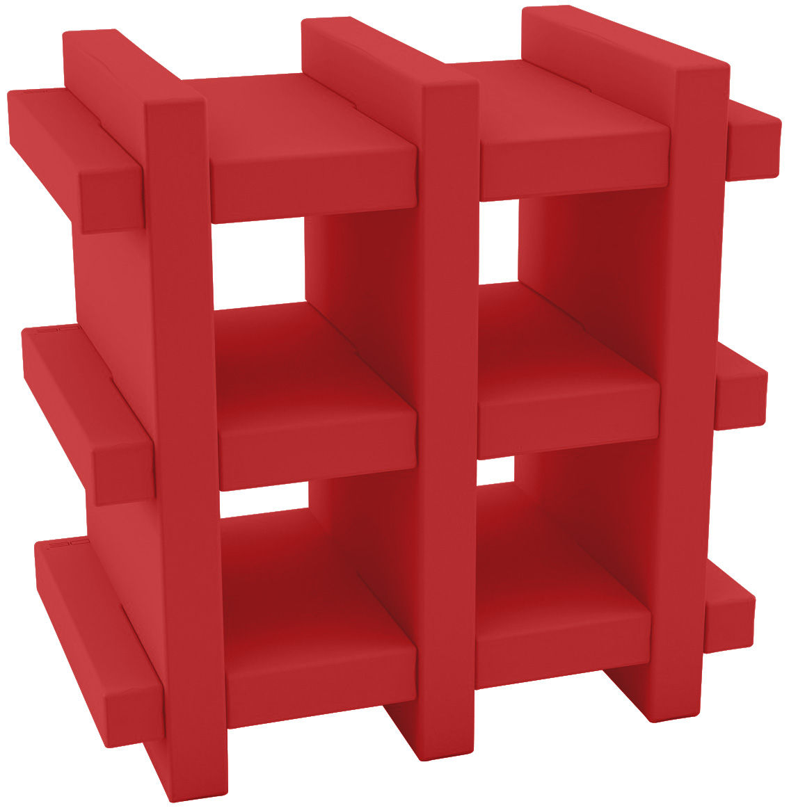 Furniture - Bookcases & Bookshelves - Booky mini Shelf - H 70 cm - W 70 cm by Slide - Red - Polythene