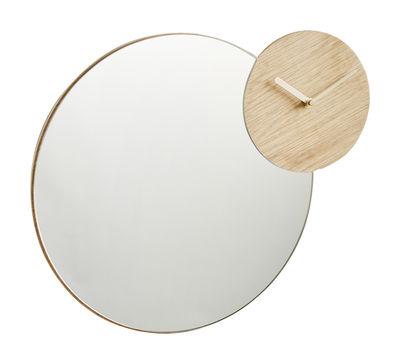 Interni - Orologi  - Specchio Timewatch / Horloge - Ø 34 cm - Woud - Rovere - Rovere massello, Vetro