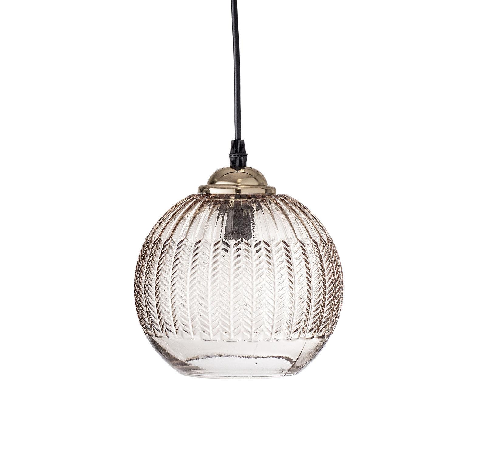 Mobilier - Suspension / Verre - Ø 17 cm - Bloomingville - Marron transparent & or - Métal, Verre texturé