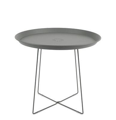 Table basse Plat-o / Plateau amovible - Ø 56 x H 46 cm - Fatboy gris en métal