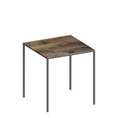 Maison et Objet - Matières brutes  - Table carrée Mini Tavolo / Bois - 99 x 99 cm - Zeus - Gris / Rouvre massif - Acier peint époxy, Bois de rouvre massif