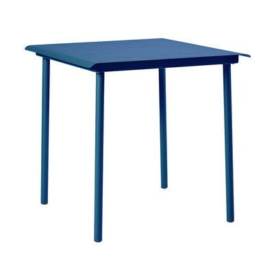 Table carrée Patio Café / Inox - 75 x 75 cm - Tolix bleu océan en métal